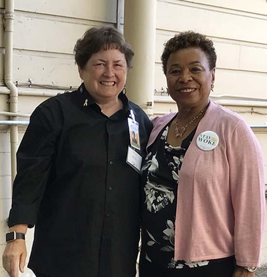 Barbara Lee and Mary Frazier at Prescott Joseph Center